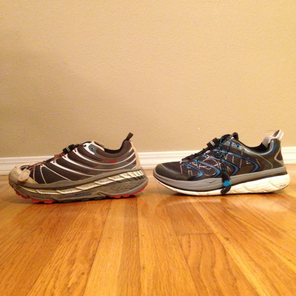 Hoka Stinson Evo (left) & Hoka Rapa Nui Tarmac (right)