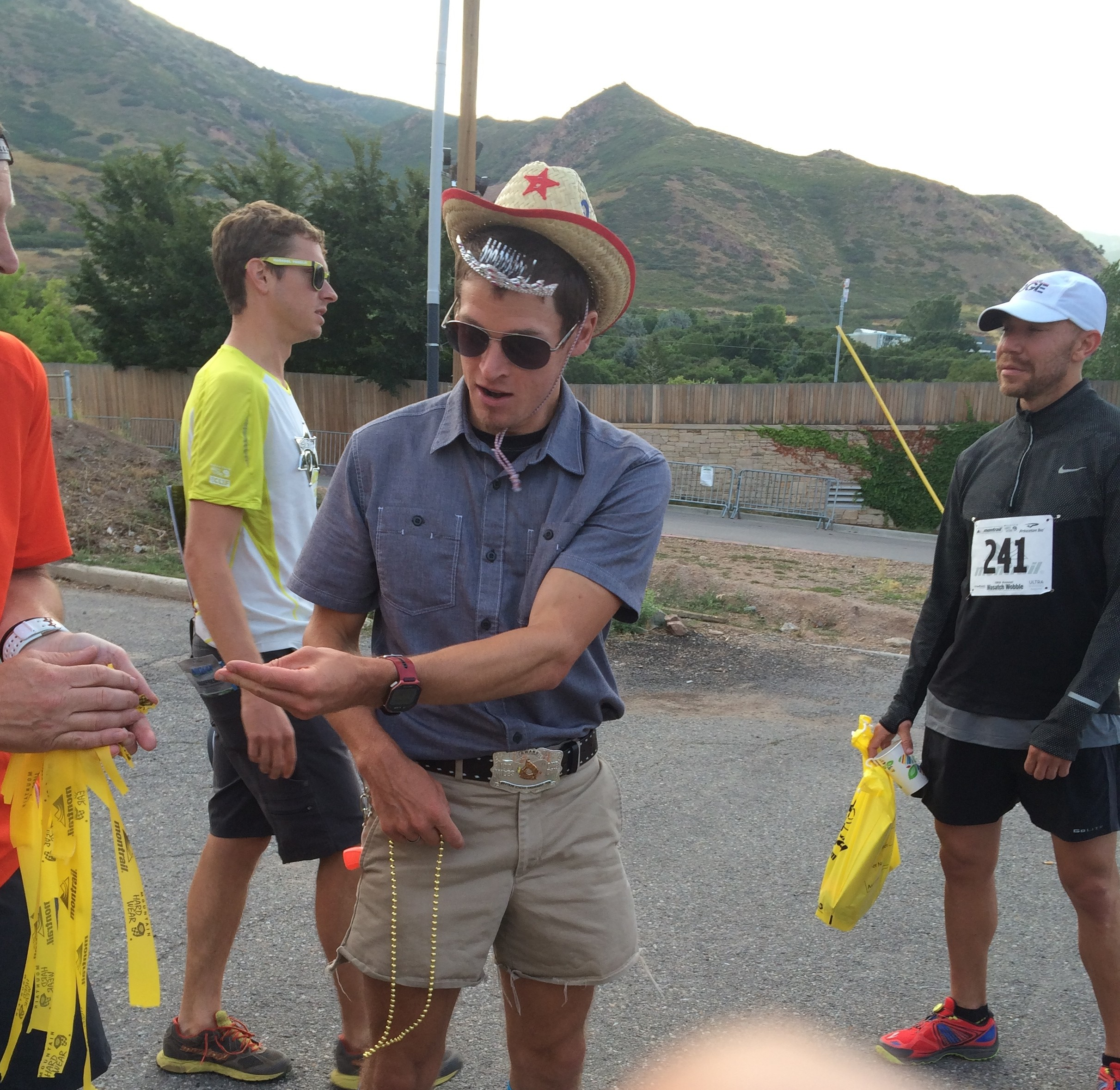 Max at the Wasatch Wobble 5k on Fri morning. Nice outfit, cowboy.