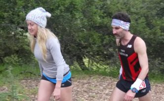 Dom and fiance Katie at mile 19 of Lake Sonoma 2016. Deep in the throes of fatigue.