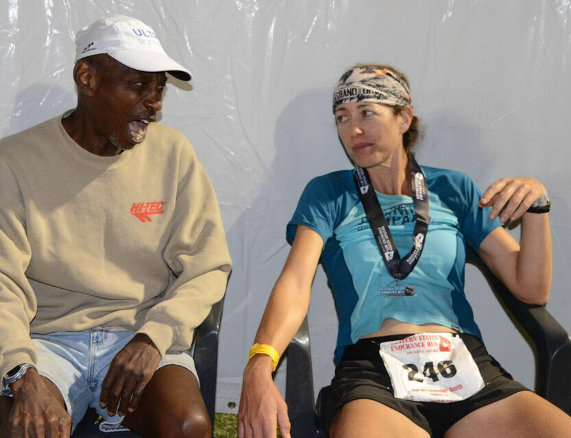 "Sarah and Errol ""Rocket"" Jones 10 minutes after her finish."