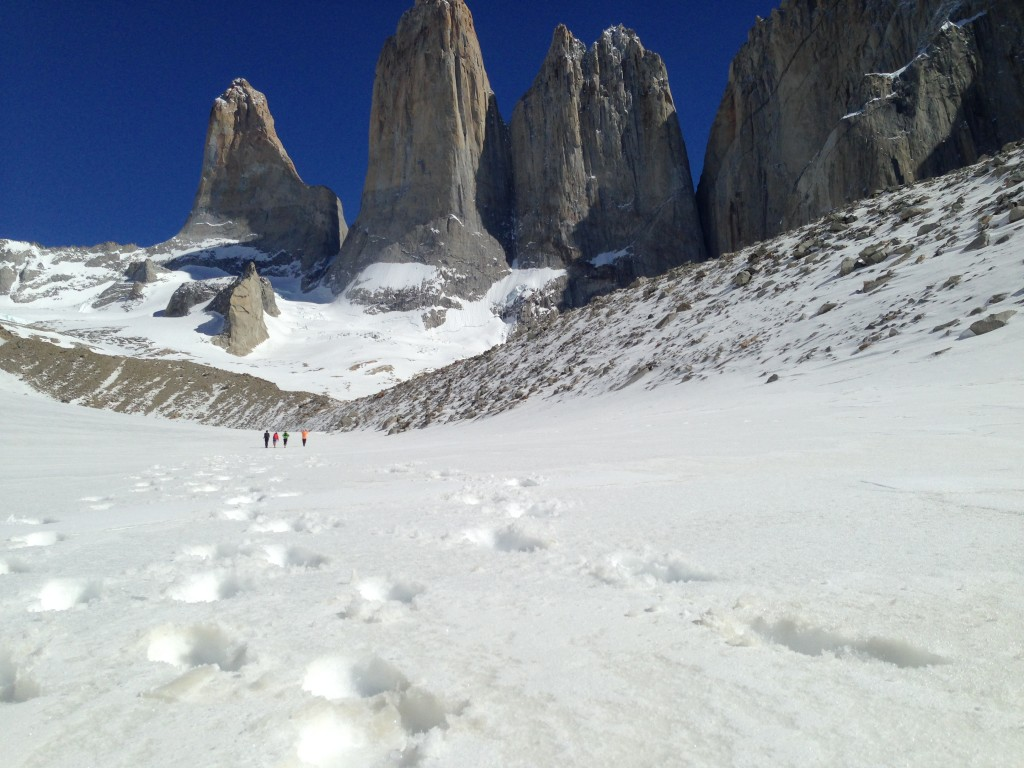 "Running towards Las Torres ""The Towers"" in Patagonia"