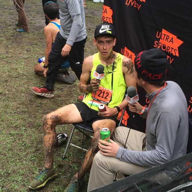 Chatting with Tim Tollefson post-race.  No, he wasn't involved in a port-a-potty accident.