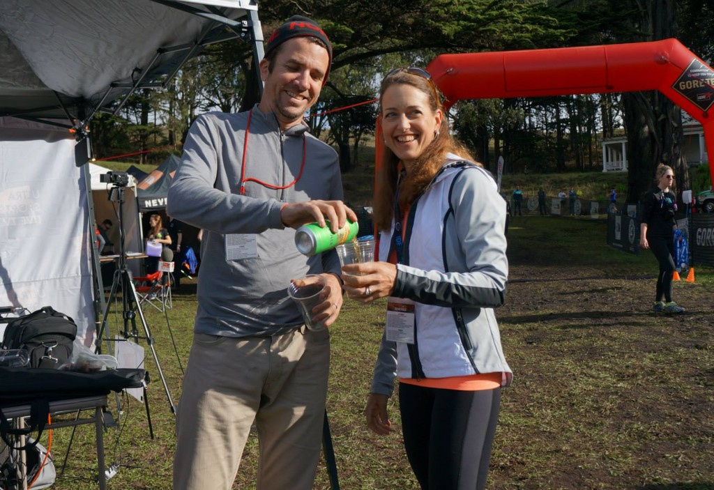 Sarah and Eric covering TNF50 with our chosen libation.
