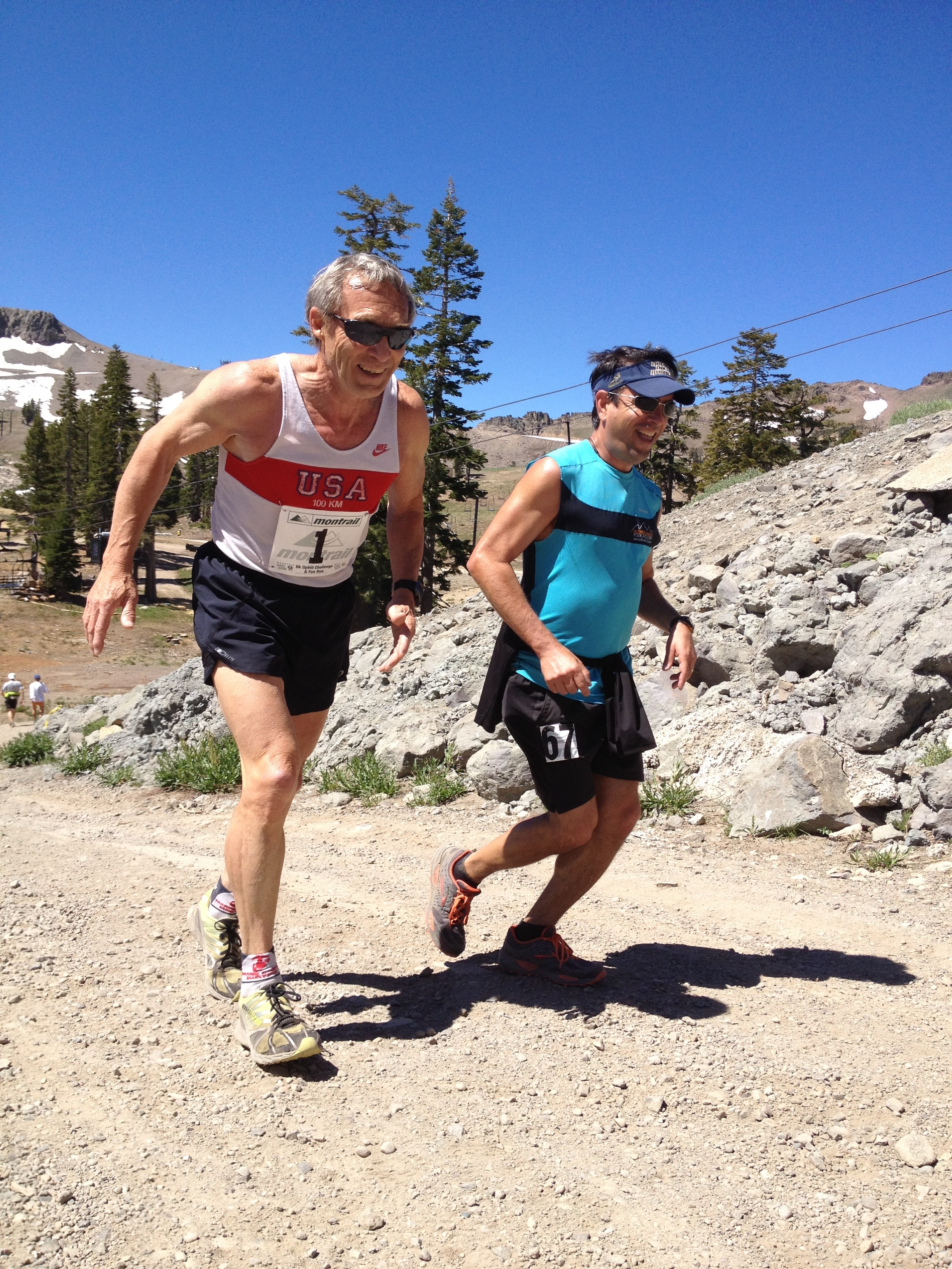 Frank and Scotty running up the Escarpment in Squaw Valley in 2012.