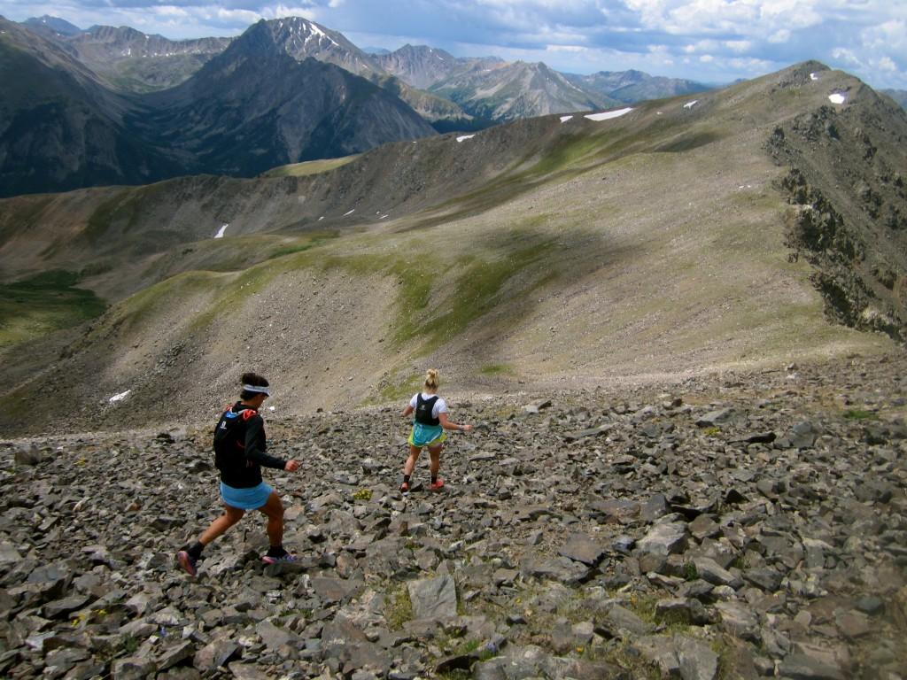 Descending Elbert towards Bull Hill and La Plata Peak