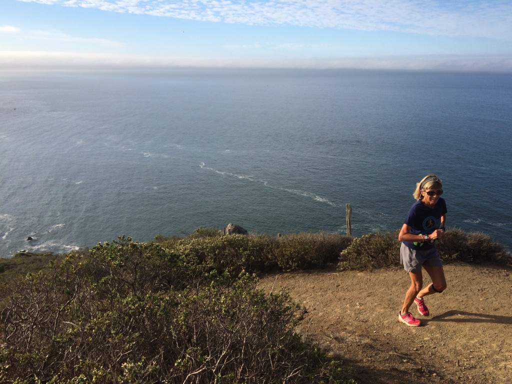 My mom on Coastal Trail in Marin Headlands.