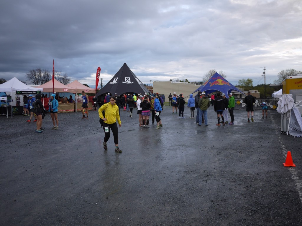 Race morning. Wet and cloudy, but blue poking through.